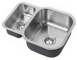 1810 Undermounted Two Bowl Kitchen Sink With Kit (Satin, 590x451mm).