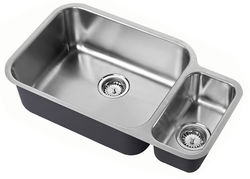 1810 Undermounted Two Bowl Kitchen Sink With Kit (Satin, 785x456mm).