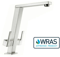 1810 Pendenza Dual Lever Kitchen Tap (Brushed Steel).