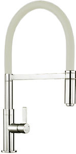 1810 Spirale Single Lever Rinser Kitchen Tap (Brushed Steel & Latte).