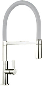 1810 Spirale Single Lever Rinser Kitchen Tap (Brushed Steel & Light Grey).