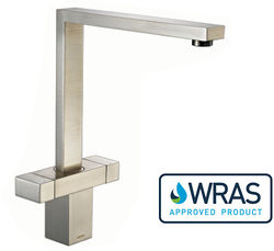 1810 Vesare Square Dual Control Kitchen Tap (Brushed Steel).