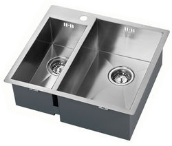 1810 Inset Two Bowl Kitchen Sink With Plumbing Kit (Satin, 565x510mm).