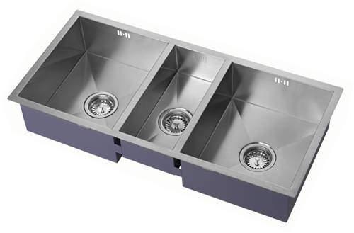 1810 Undermounted Three Bowl Kitchen Sink With Kit (Satin, 920x400).