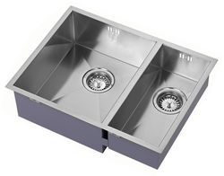 1810 Undermounted Two Bowl Kitchen Sink With Kit (Satin, 545x400mm).