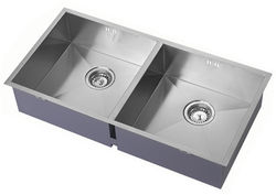 1810 Undermounted Two Bowl Kitchen Sink With Kit (Satin, 825x400mm).