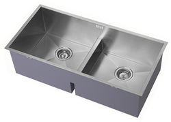 1810 Undermounted Deep Two Bowl Kitchen Sink With Kit (Satin, 860x400).