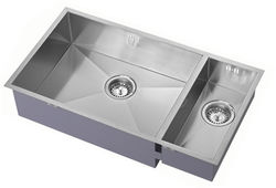 1810 Undermounted Two Bowl Kitchen Sink With Kit (Satin, 755x400mm).