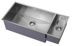1810 Undermounted Two Bowl Kitchen Sink With Kit (Satin, 905x400mm).