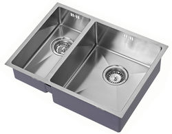 1810 Undermounted Two Bowl Kitchen Sink With Kit (Satin, 585x440mm).