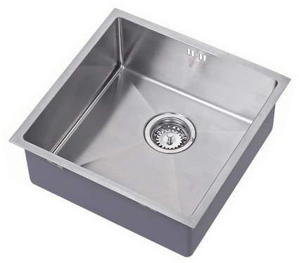 1810 Undermounted Kitchen Sink With Plumbing Kit (Satin, 400x400mm).