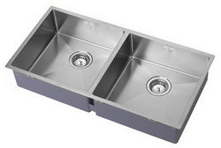 1810 Undermounted Two Bowl Kitchen Sink With Kit (Satin, 865x440mm).