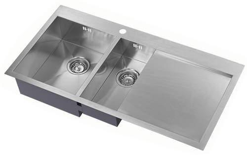 1810 Overmounted Kitchen Sink, Right Hand Drainer (Satin, 1000x510).