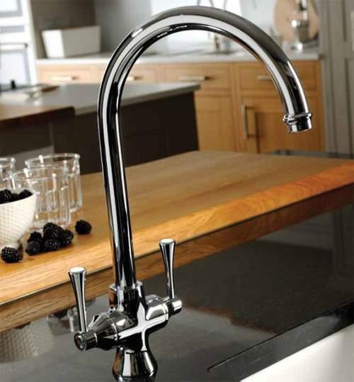 Abode Gosford Twin Lever Kitchen Tap (Chrome).