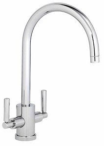 Abode Atlas Twin Lever Kitchen Tap With Swivel Spout (Chrome).