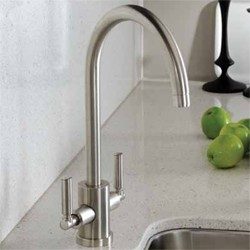 Abode Atlas Twin Lever Kitchen Tap With Swivel Spout (Brushed Nickel).