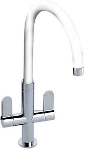 Abode Linear White Kitchen Tap With Swivel Spout (Chrome Body).