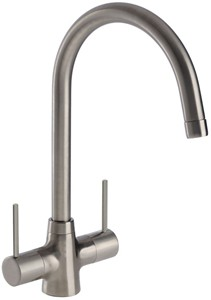 Abode Nexa Dual Lever Kitchen Tap With Swivel Spout (Brushed Nickel).