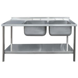 Acorn Thorn Catering Double Sink With LH Drainer & Legs 1500mm (S Steel).