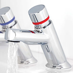 Acorn Thorn Contemporary Self Closing Basin Taps (Pair, Chrome).