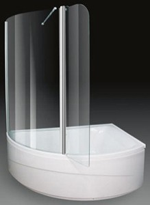 Aquaestil Comet Corner Shower Bath With Screen.  Right Hand. 1500x1000mm.