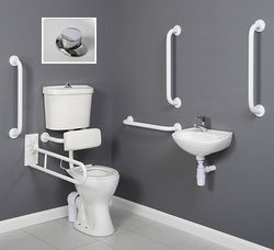 Arley Doc M Doc M Low Level Toilet Pack With Push Button Flush & White Rails.