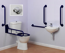 Arley Doc M Doc M Close Coupled Pack With Push Button Flush & Blue Rails.