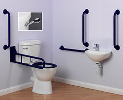 Arley Doc M Doc M Close Coupled Pack With Low Lever Flush & Blue Rails.