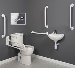 Arley Doc M Doc M Close Coupled Pack With Low Lever Flush & White Rails.