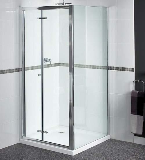 Aqualux Shine Shower Enclosure With Bi-Fold Door. 760x760, (Square).