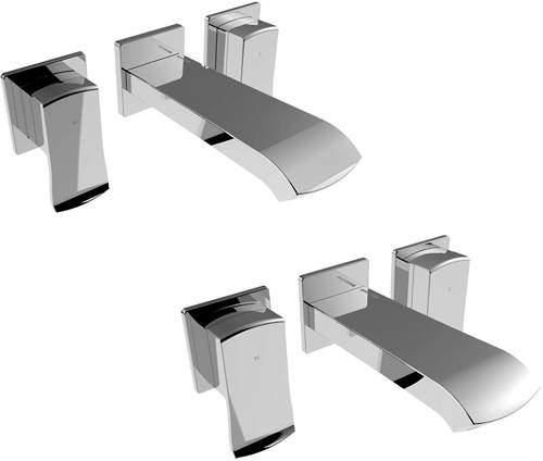 Bristan Descent Wall Mounted Basin & Bath Filler Tap Pack (Chrome).