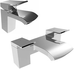 Bristan Descent Basin Mixer & Bath Filler Tap Pack (Chrome).