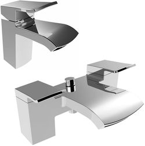 Bristan Descent Mono Basin & Bath Shower Mixer Tap Pack (Chrome).