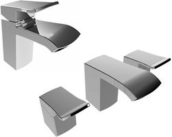 Bristan Descent Mono Basin & 3 Hole Bath Filler Tap Pack (Chrome).