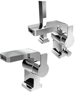 Bristan Exodus Waterfall Basin & 2 Hole Bath Shower Mixer Tap Pack (Chrome).