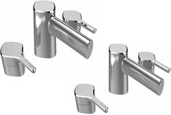 Bristan Flute 3 Hole Basin & Bath Filler Tap Pack (Chrome).