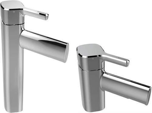 Bristan Flute Tall Mono Basin Mixer & 1 Hole Bath Filler Tap Pack (Chrome).