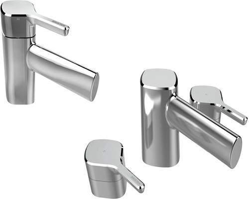Bristan Flute Mono Basin Mixer & 3 Hole Bath Filler Tap Pack (Chrome).