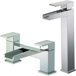 Bristan Hampton Waterfall Tall Basin & Bath Filler Tap Pack (Chrome).