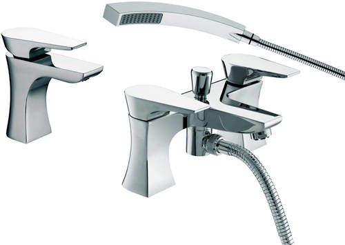 Bristan Hourglass Mono Basin & Bath Shower Mixer Taps Pack (Chrome).