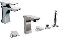 Bristan Hourglass 5 Hole Bath Shower Mixer & Basin Tap Pack (Chrome).