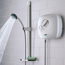 Bristan Power Showers 1500 Thermostatic Power Shower In White.