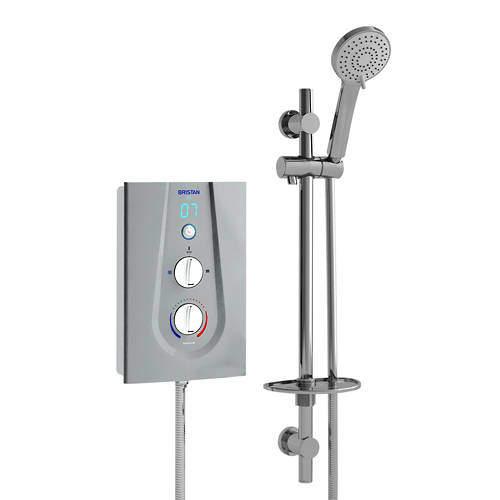 Bristan Joy Thermostatic Electric Shower With Digital Display 9.5kW (Silver).