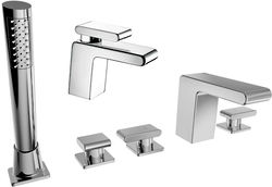 Bristan Pivot Basin & 5 Hole Bath Shower Mixer Taps Pack (Chrome).