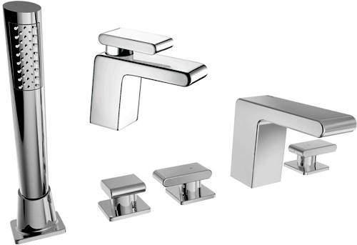Bristan Pivot Basin & 5 Hole Bath Shower Mixer Taps Pack (Chrome).