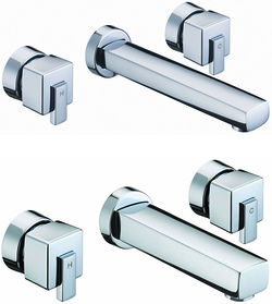Bristan Qube Wall Mounted Basin & Bath Filler Tap Pack (Chrome).