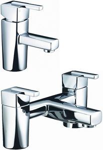Bristan Qube Basin & Bath Filler Taps Pack (Chrome).