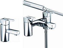 Bristan Qube Basin & Bath Shower Mixer Taps Pack (Chrome).