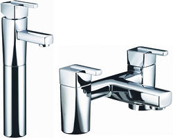 Bristan Qube Tall Basin & Bath Filler Taps Pack (Chrome).