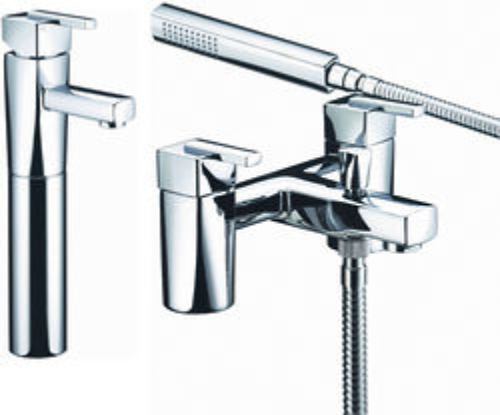 Bristan Qube Tall Basin & Bath Shower Mixer Taps Pack (Chrome).